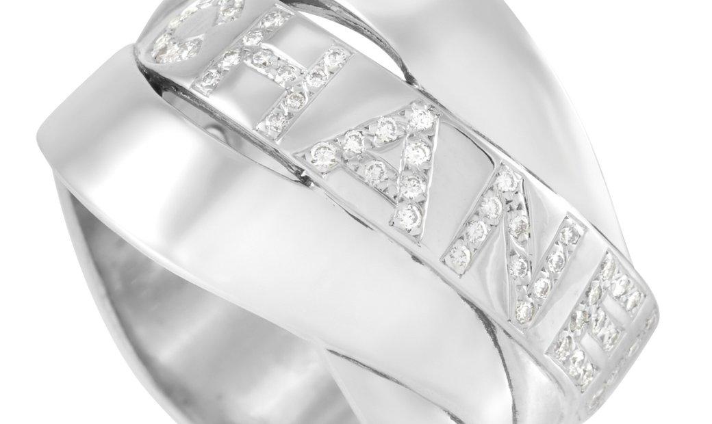 Chanel Chanel 18K White Gold Bolduc Diamond Ring