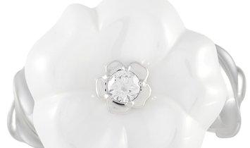 Chanel Chanel 18K White Gold Ceramic and Diamond Flower Ring