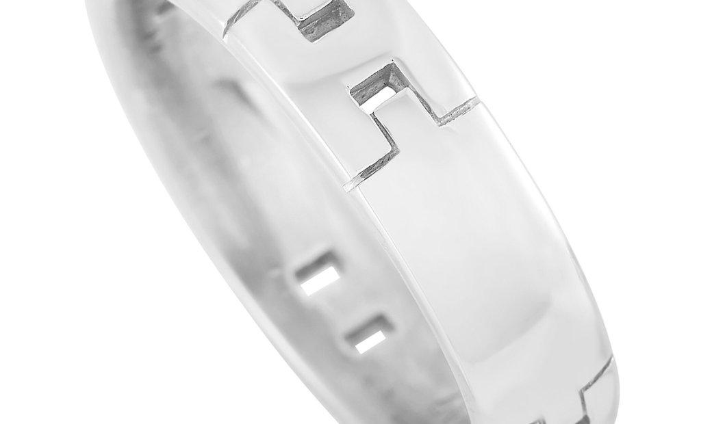 """Hermès Hermès 18K White Gold """"H"""" Thin Band Ring"""