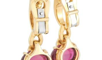 Bvlgari Bvlgari 18K Yellow Gold Diamond and Tourmaline Clip-On Earrings