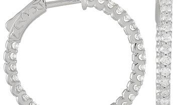 LB Exclusive LB Exclusive 14K White Gold 1.16 ct Diamond Hoop Earrings