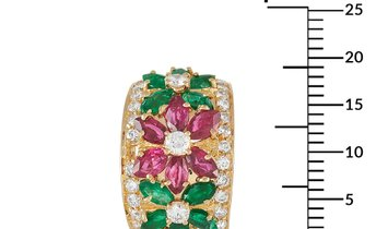 LB Exclusive LB Exclusive 18K Yellow Gold 3.00 ct Diamond, Ruby and Emerald Floral Earrings