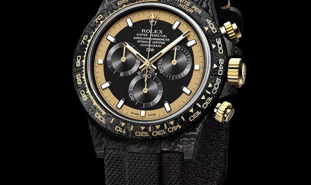 "Rolex DiW NTPT Carbon Daytona ""BLACK & GOLD INVERT"" (Retail:EUR 45990)"