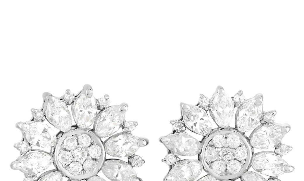 LB Exclusive LB Exclusive 14K White Gold 1.78 ct Diamond Flower Earrings
