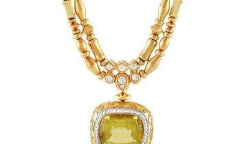 SeidenGang SeidenGang 18K Yellow Gold 1.25 ct Diamond and Golden Beryl Necklace