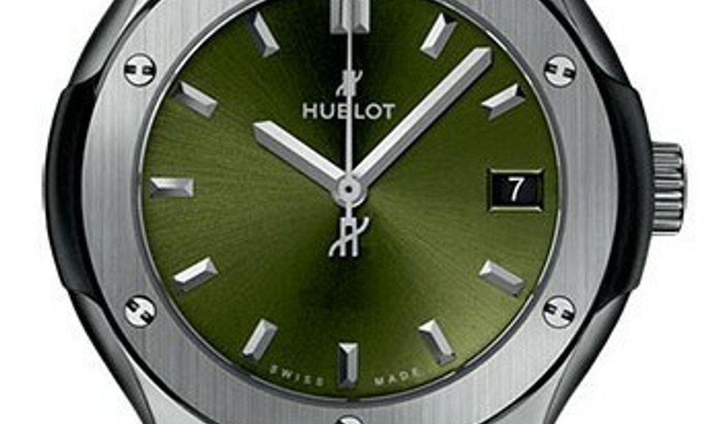 HUBLOT CLASSIC FUSION TITANIUM GREEN QUARTZ 33MM 581.NX.8970.LR