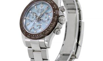 Rolex Cosmograph Daytona Platinum Ice Blue Factory Gem Set Index Dial Watch 116506