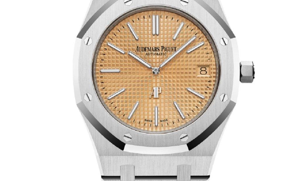 Audemars Piguet Royal Oak Jumbo White Gold Pink Index Dial Watch 15202BC.OO.1240BC.01