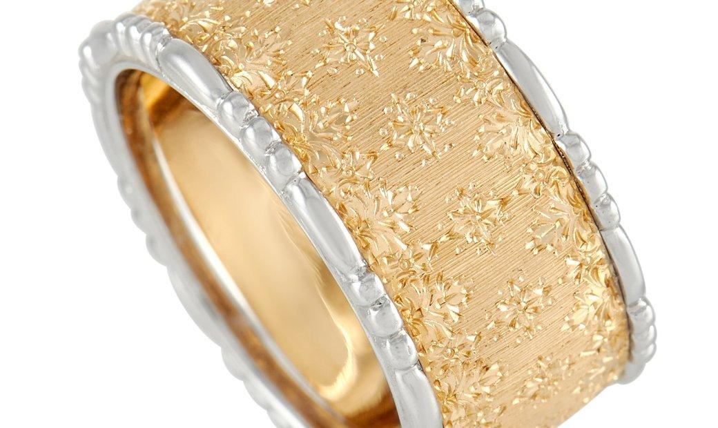Buccellati Buccellati Prestigio 18K Yellow and White Gold Wide Band Ring