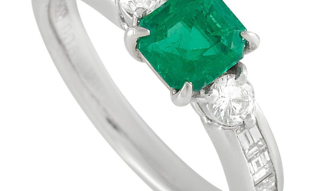 LB Exclusive LB Exclusive Platinum 0.51 ct Diamond and Emerald Ring