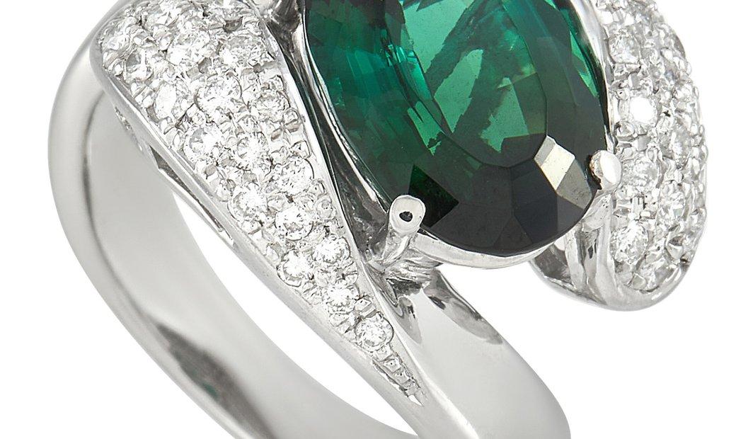 LB Exclusive LB Exclusive Platinum 0.43 ct Diamond and Tourmaline Ring