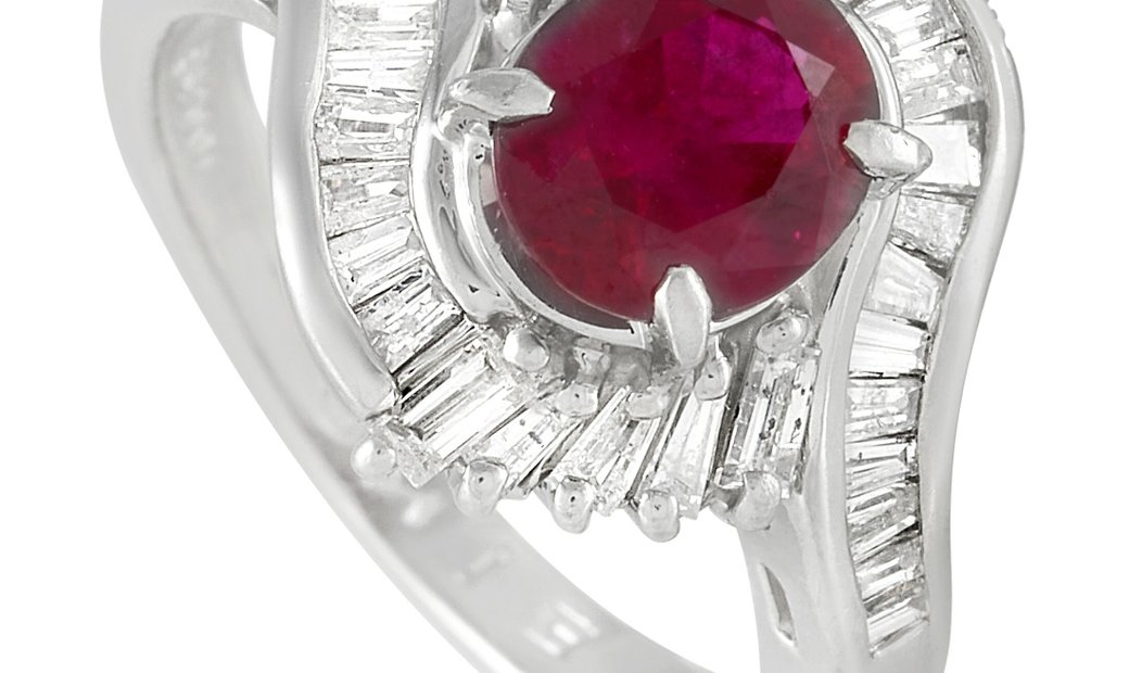 LB Exclusive LB Exclusive Platinum 0.86 ct Diamond and Ruby Ring