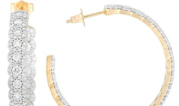 LB Exclusive LB Exclusive 14K Yellow Gold 4 ct Diamond Half Hoop In-Out Earrings