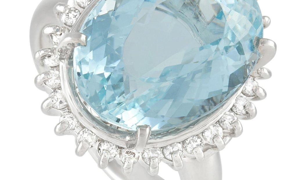 LB Exclusive LB Exclusive Platinum 0.36 ct Diamond and Aquamarine Ring