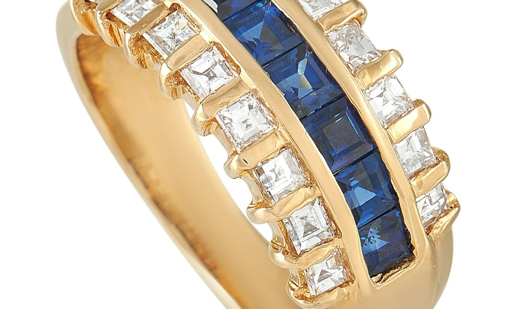 LB Exclusive LB Exclusive 18K Yellow Gold 0.89 ct Diamond and Sapphire Ring