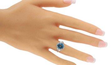 LB Exclusive LB Exclusive Platinum 0.93 ct Diamond and Topaz Ring