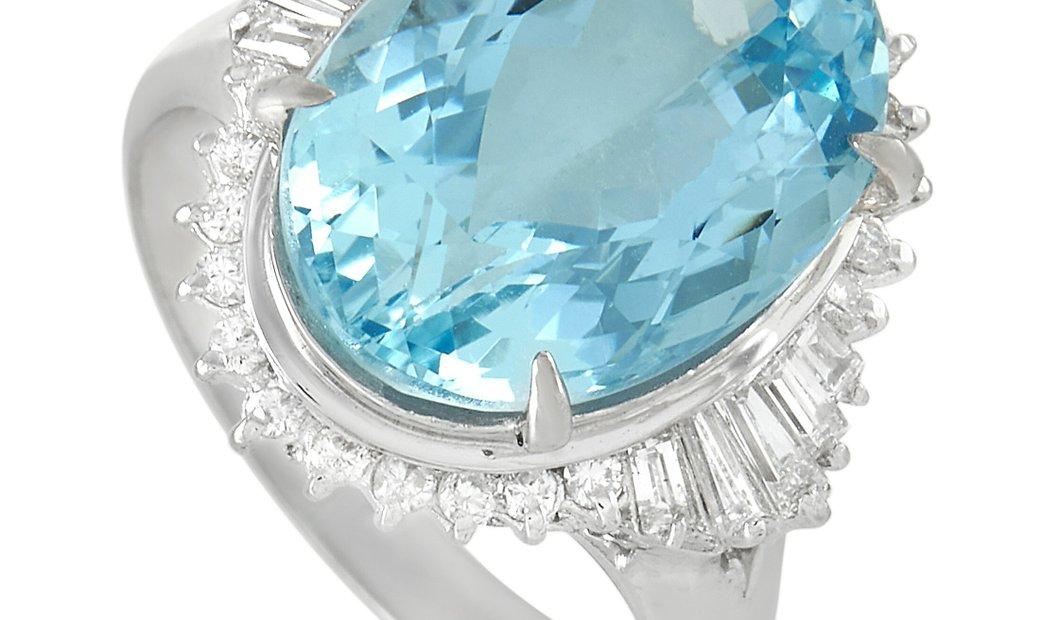 LB Exclusive LB Exclusive Platinum 0.47 ct Diamond And Aquamarine Ring