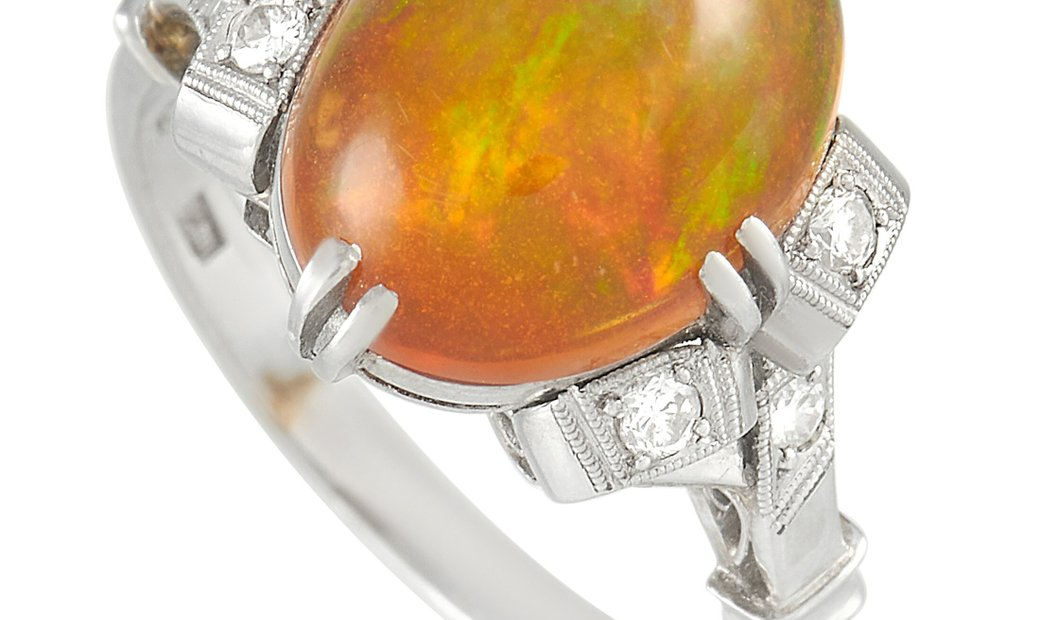 LB Exclusive LB Exclusive Platinum 0.10 ct Diamond and Opal Ring