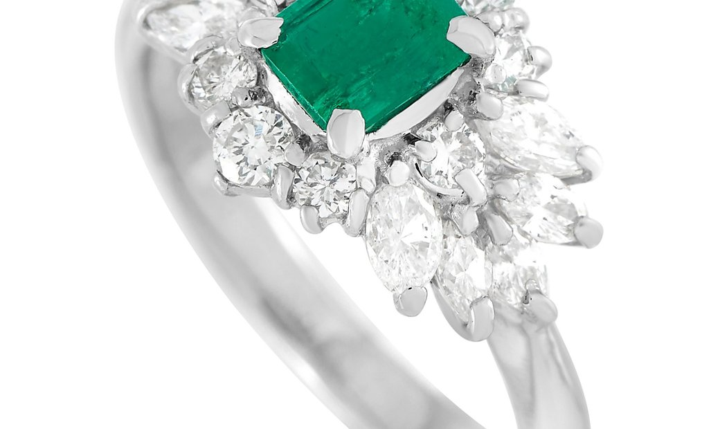 LB Exclusive LB Exclusive Platinum 1.10 ct Diamond and Emerald Ring