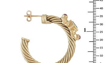 David Yurman David Yurman Renaissance 14K Yellow Gold Ruby and Topaz Hoop Earrings