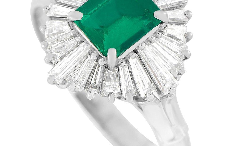 LB Exclusive LB Exclusive Platinum 0.71 ct Diamond and Emerald Ring