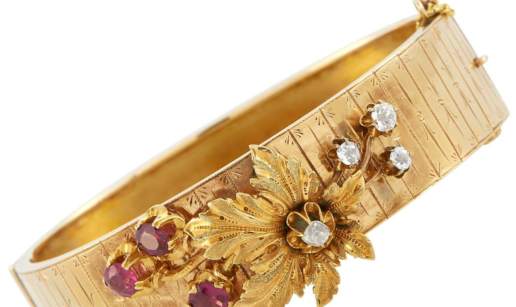 LB Exclusive LB Exclusive Antique 14K Yellow Gold 0.40 ct Diamond and 2.00 ct Ruby Bangle Bracelet