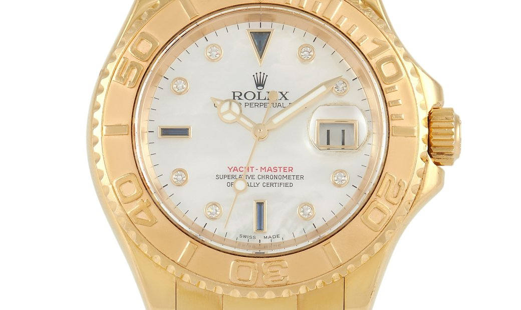 Rolex Rolex Yacht Master 18K Yellow Gold Mother of Pearl Sapphire Watch 16628MOP