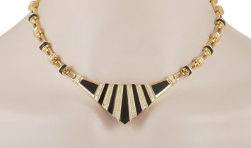 LB Exclusive LB Exclusive 18K Yellow Gold 3.00 ct Diamond and Onyx Necklace