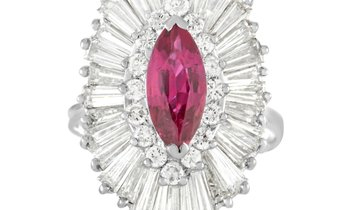 LB Exclusive LB Exclusive 18K White Gold 5.50 ct Diamond and Ruby Ring