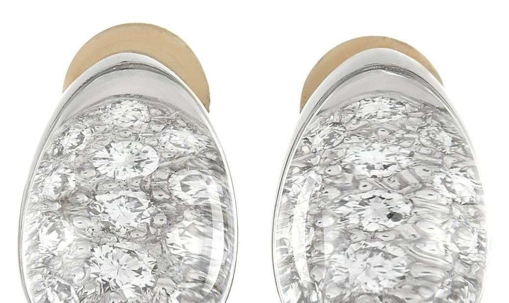 Cartier Cartier Myst 18K White Gold Diamond And Crystal Clip On Earrings