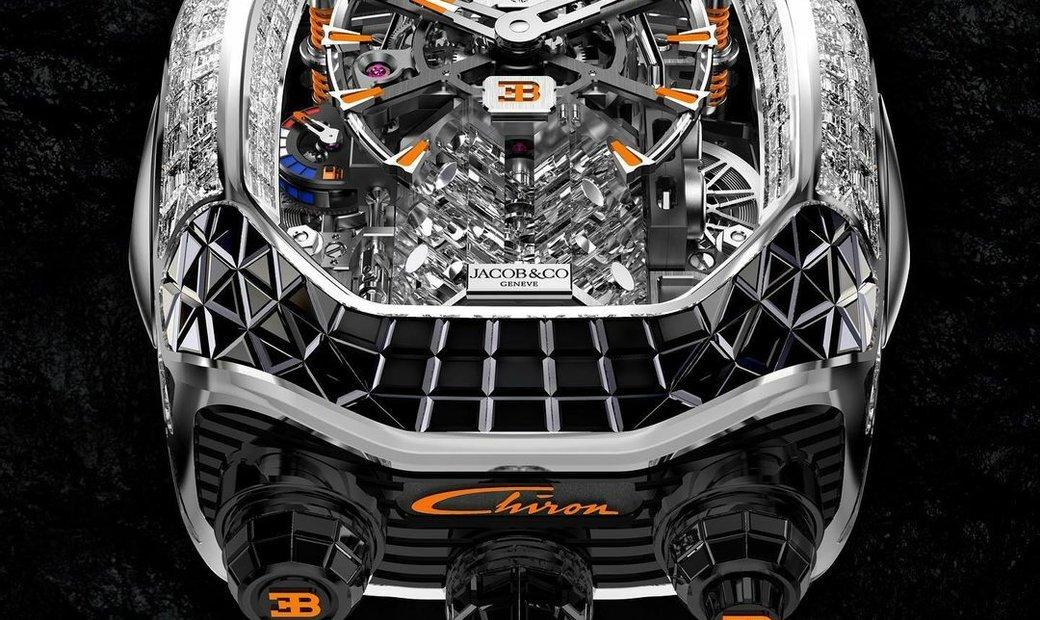 Jacob & Co. 捷克豹 [NEW] Bugatti Chiron Baguette Black and Orange Sapphires BU800.30.AA.UA.A