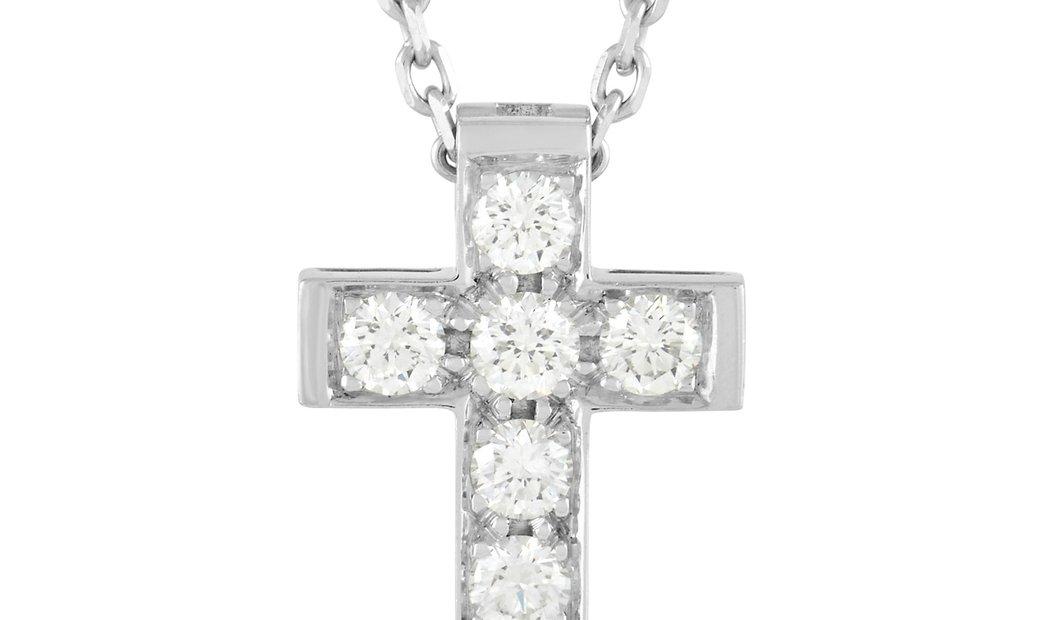Van Cleef & Arpels Van Cleef & Arpels 18K White Gold 0.24 ct Diamond Cross Pendant Necklace