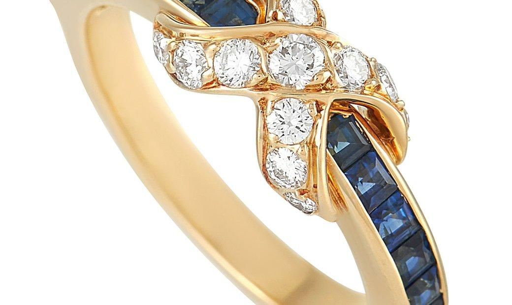 Tiffany & Co. Tiffany & Co. 18K Yellow Gold Diamond and Sapphire Infinity Ring