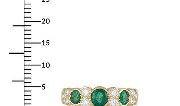 Van Cleef & Arpels Van Cleef & Arpels 18K Yellow Gold 0.25 ct Diamond and 0.75 ct Emerald Ring