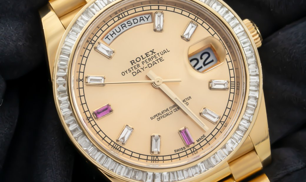Rolex Day-Date 228238 Yellow Gold Diamond and Ruby Hour Markers