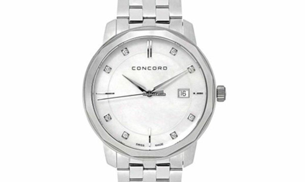 CONCORD BENNINGTON QUARTZ SILVER DIAMOND DIAL 40MM 0320484