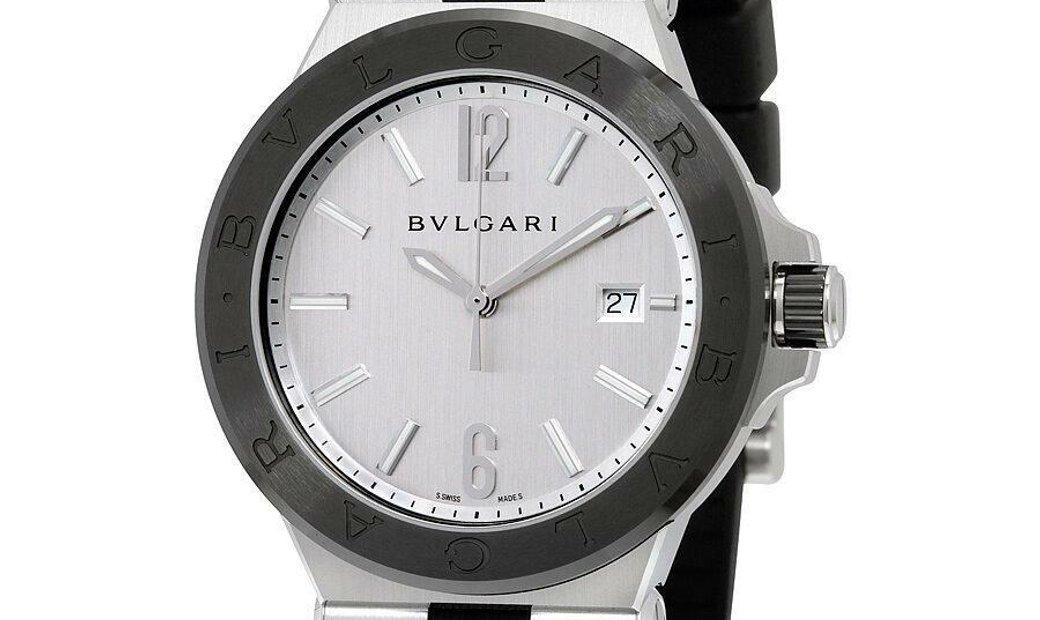 BVLGARI DIAGONO AUTOMATIC SILVER DIAL BLACK CERAMIC BEZEL 102252