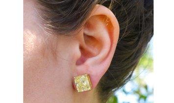 13+ Carat Fancy Canary Diamond Earrings