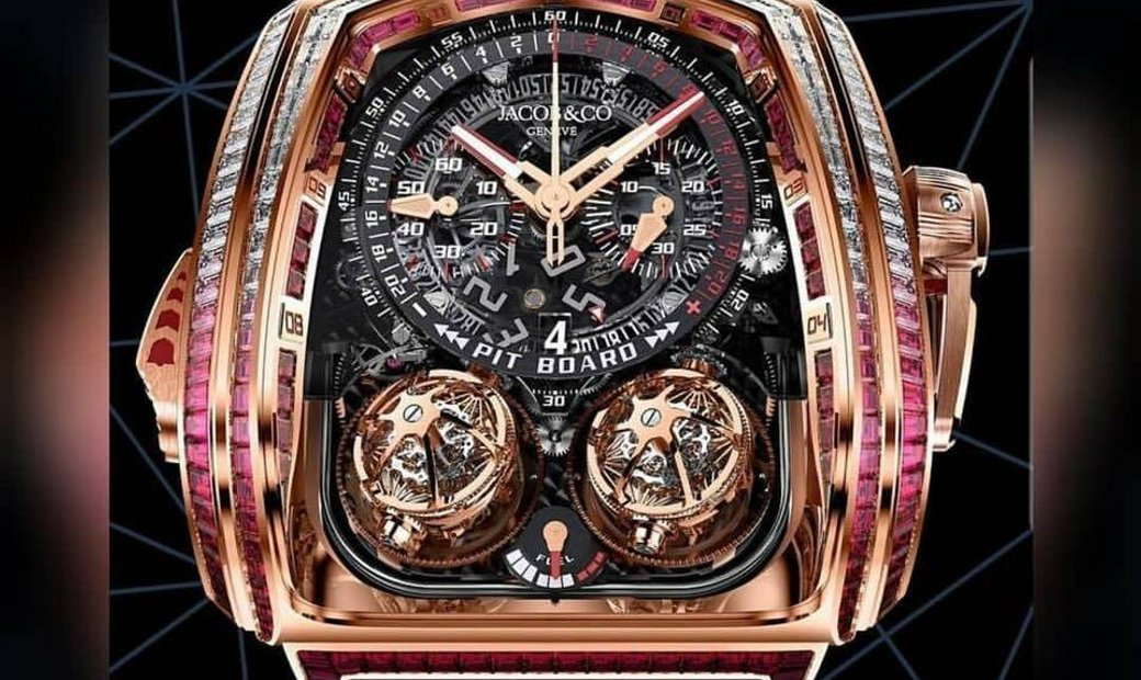 Jacob & Co. 捷克豹 [NEW] Twin Turbo Furious Baguette Rose Gold TT800.40.BR.AA.A