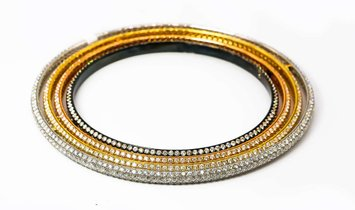 4 Connected Bangle bracelets in Black, Rose Gold, Gold, and Silver
