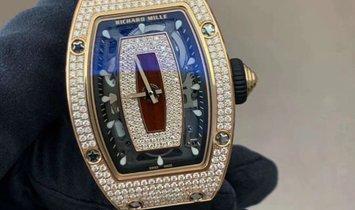 Richard Mille RM 07-01 Rose Gold Full Set Diamonds Red Lip Watch