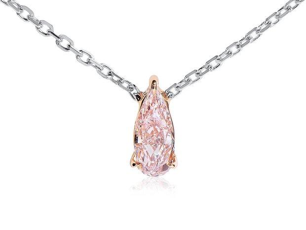 Fancy Light Orangy Pink Diamond Necklace, 0.30 Carat, Pea... (11573812)