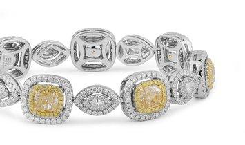 Light Yellow Diamond Bracelet, 11.80 Ct. TW, Cushion shape, GIA Certified, JCBF05391340