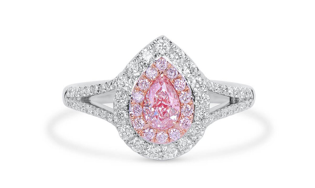Very Light Pink Diamond Ring, 0.40 Ct. (1.01 Ct. TW), Pear shape, GIA Certified, 1363928767