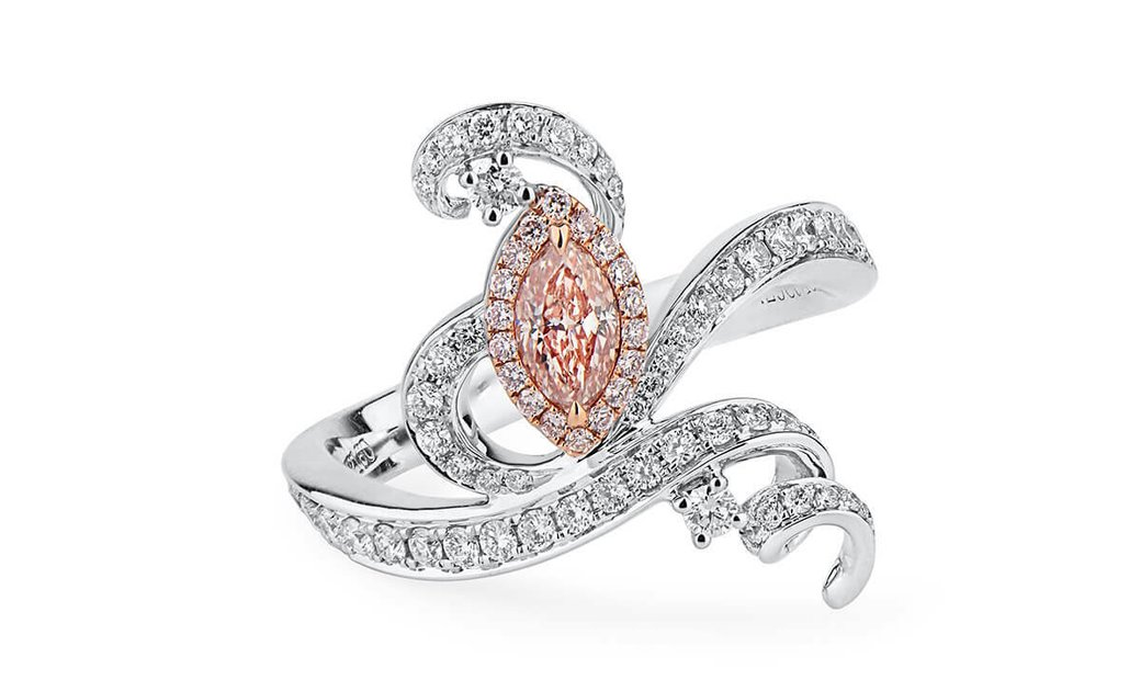 Fancy Light Pinkish Brown Diamond Ring, 0.29 Ct. (0.80 Ct. TW), Marquise shape, GIA Certified, 23140
