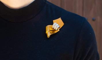 Chaumet Diamond Brooch 5.2 Carat 18 Karat Yellow Gold