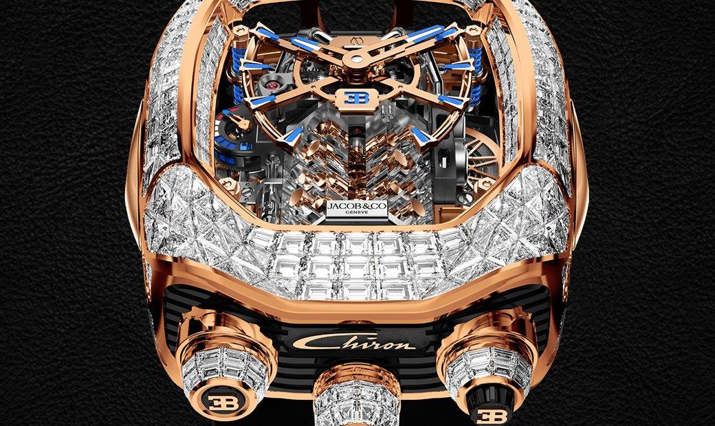 Jacob & Co. 捷克豹 [NEW] Bugatti Chiron Rose Gold Baguette White Diamonds Tourbillon BU800.40.BD.BD.A
