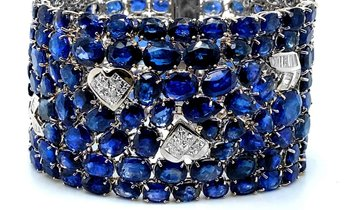 GIA 615+ Carat Sapphire Suite - Matching Necklace, Earrings, Bracelet, and Ring