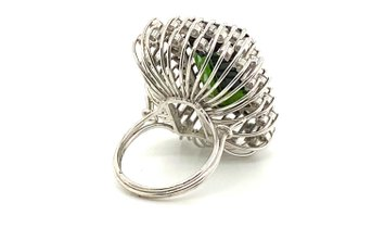 22.50 Carat Green Tourmaline Ring with 2.72 Carats of Diamonds from the 1940's