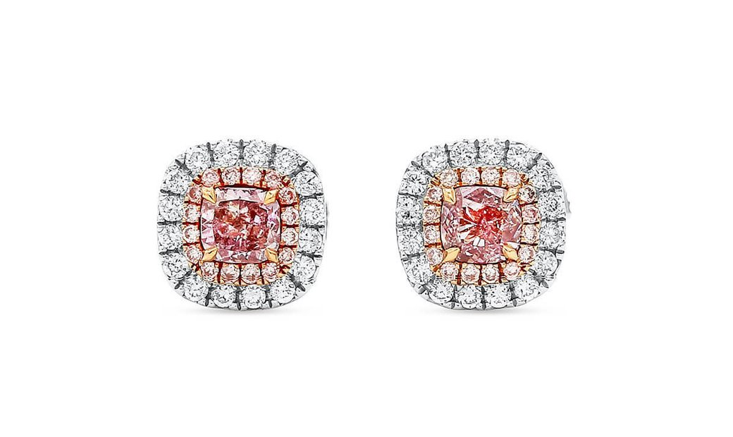Fancy Light Pink Diamond Earrings, 0.36 Ct. (0.58 Ct. TW), Cushion shape, GIA Certified, JCEF0548162